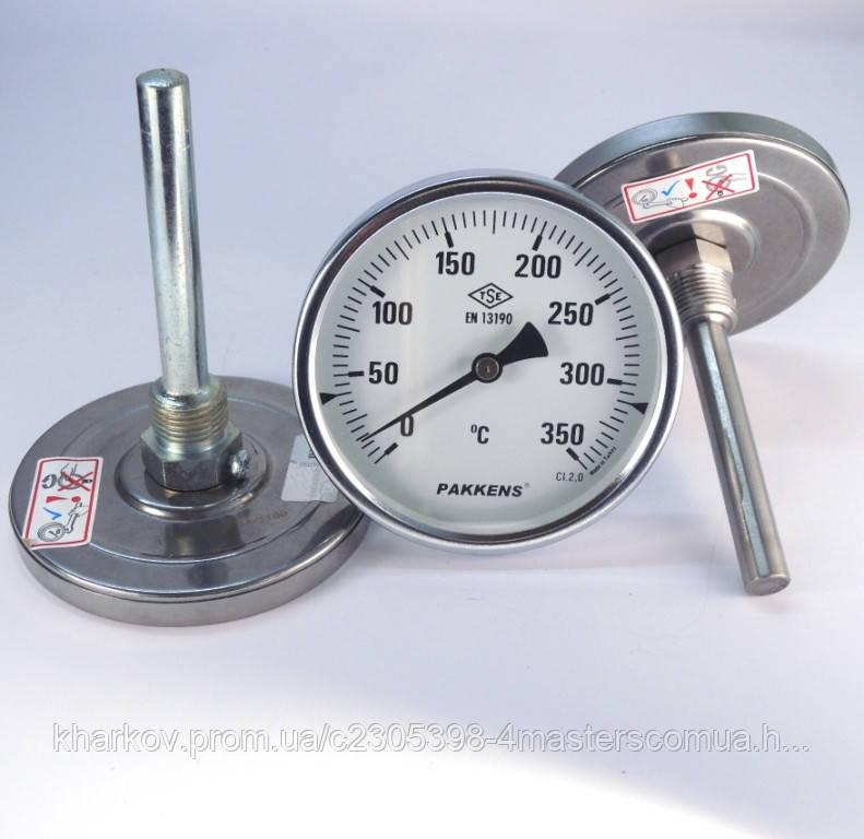 Термометр осевой 0 350°С с погружной гильзой 10 см Ø100, Pakkens