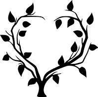 Виниловая интерьерная наклейка - Дерево(сердце) (от 15х11 см)