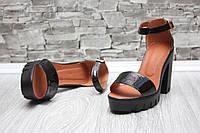 Женские Босоножки кожаные на тракторной подошве и каблуке черные, 36,37,39р.