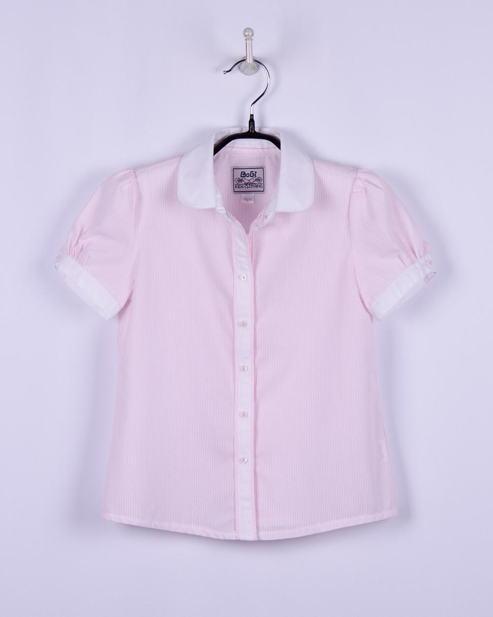 Блуза для девочки с коротким рукавом, бело-розовая, в мелкую полоску, белый воротник, 140-146, BOGI (Божи)