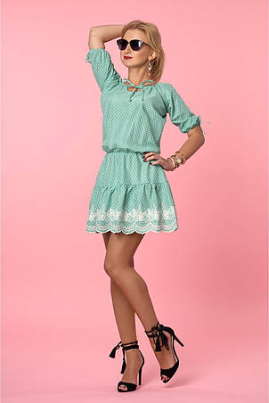 Легкое летнее платье в горошек из коттона с изумительной вышивкой, фото 2