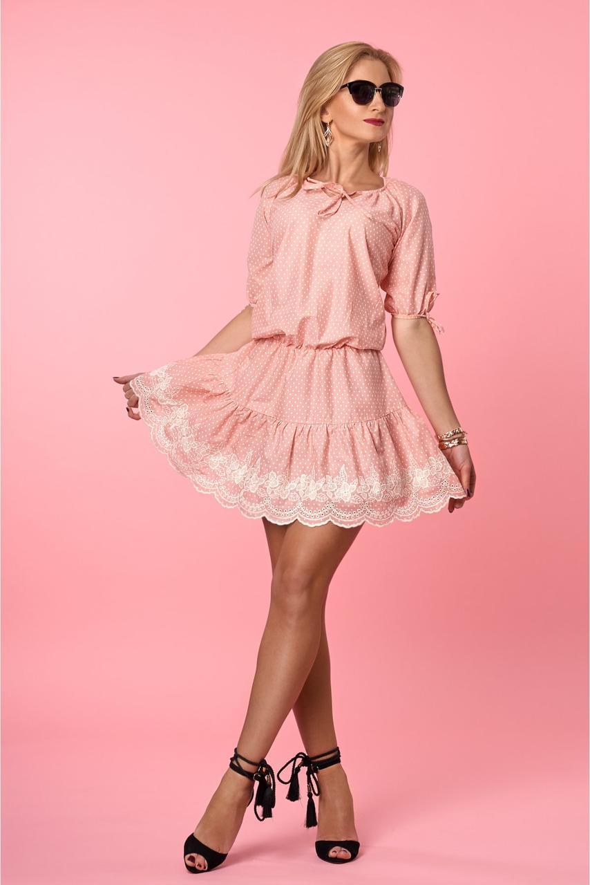 Легкое летнее платье в горошек из коттона с изумительной вышивкой
