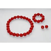 Комплект украшений – бусы, браслет и серьги из деревянных бусин