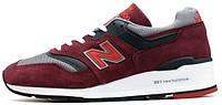 Мужские кроссовки New Balance M997CRG Burgundy/Grey (Нью Беланс) бордовые