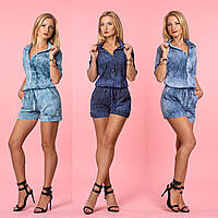Женский летний комбинезон-шорты с рубашечным верхом