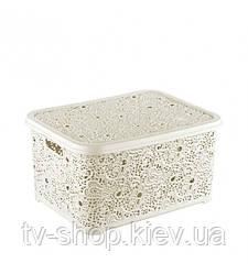 Контейнер для хранения Кружево ,10 л (шоколад,белый,розовый)