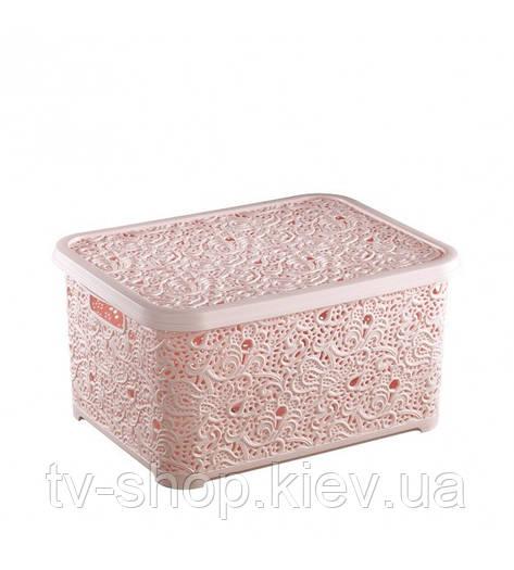 Контейнер для хранения Кружево , 2л (шоколад,белый,розовый)