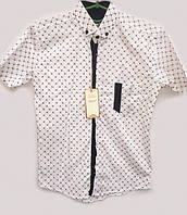 Детская рубашка для мальчика белого цвета в школу 14188