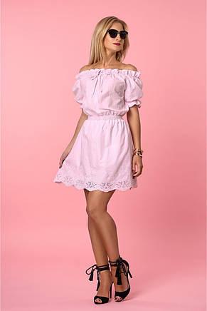 Воздушное летнее платье с открытыми плечами из коттона с вышивкой, фото 2