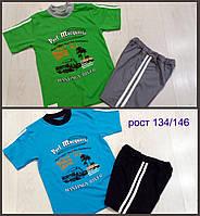 Детский летний комплект для мальчиков футболка и шорты рост 134,140,146