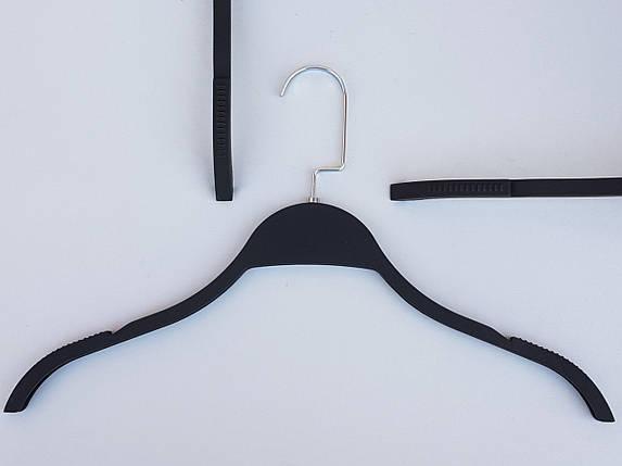 Плечики вешалки тремпеля  LT903 матовый  Soft-touch черного цвета, длина 40,5 см, фото 2