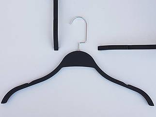 Плічка вішалки тремпеля LT903 матовий Soft-touch чорного кольору, довжина 40,5 см