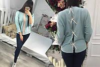 Модная женская мятная рубашка с бантиками на спине. Арт-1269/38