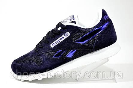 Кроссовки женские Reebok Classic Leather, Фиолетовый\Белый, фото 2