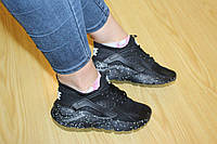 Женские кроссовкиNike Huarache черные 2127