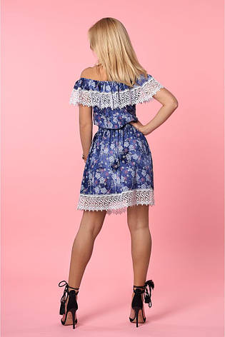 Легкое летнее короткое открытое платье с изумительным кружевом 50-52, фото 2