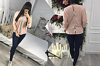 Модная женская рубашка с бантиками на спине, цвет-пудра. Арт-1269/38