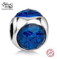 """Серебряная подвеска-шарм Пандора (Pandora) """"Синяя солнечная капелька"""" для браслета"""