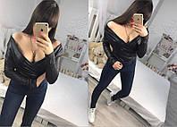 Модная женская черная кофта с открытыми плечами. Арт-1270/38