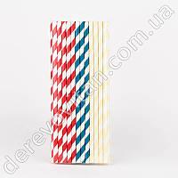 Набор бумажных трубочек, ассорти сине-кремово-красное, 25 шт.