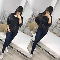 Модная женская черная кофта свободного кроя с фигурным передком. Арт-1271/38