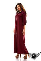 Платье-халат макси на кнопках с поясом, бутылка, ментоловый, пудра, марсала, все размеры, другие цвета