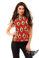 Женский костюм двоечка блуза без рукавов  и капри, ментоловый и красный, разные размеры