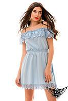Платье лён с открытыми плечиками и кружевом до колена, c кружевом красное, голубое, пудры