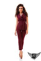 Женский костюм двоечка жилетка и брюки 7/8 марсала, бордовый, синий, темно-синий, все размеры
