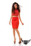 Женский костюм двоечка топ и юбка карандаш, юбка из аппликации на сетке с подкладкой, красный, белый, светлый