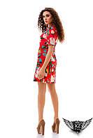 Платье с цветочным принтом, лён, короткое, цвета голубое, красное, все размеры