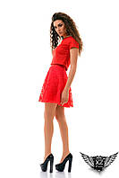 Женский костюм топ и юбка (с аппликацией) клеш розы, цвета красное, белое, черное, все размеры