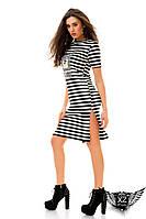 Платье с нашивкой-органза, с боковым разрезом, цвета черно-белая полоска, все размеры