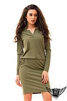 Платье ворот углы, угловатый воротник,  цвета хаки, марсала, зеленое, желтое, все размеры