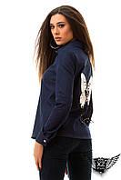 Куртка-рубашка джинс с принтом бабочки (эко-кожа) на спине, цвета чёрная, тёмно-синяя, все размеры