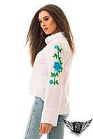 Женская рубашка с вышивкой, цвета: белая с вышивкой:  малиновая, оранжевая, бирозовая все размеры