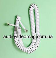 Витой кабель, шнур RJ-9 (4Р4С) для телефонной трубки, белый