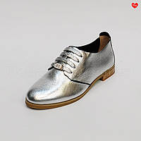 Женские туфли серебро шнурок кожаные