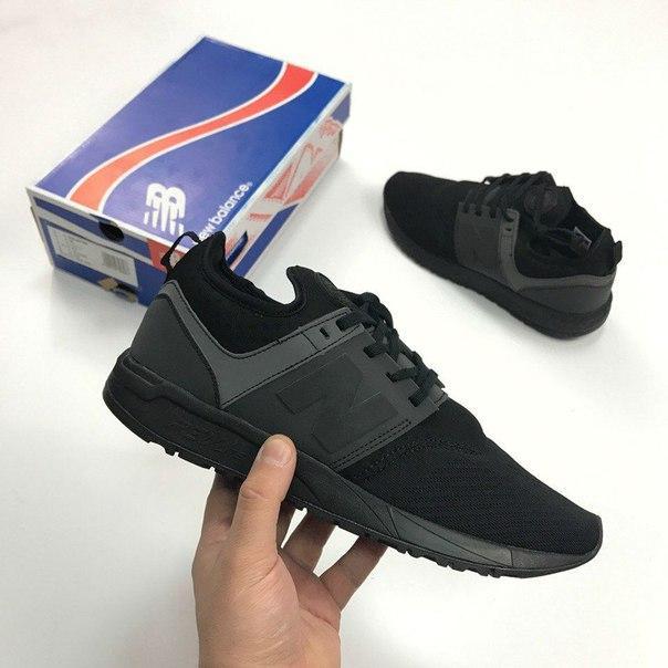 Мужские кроссовки New Balance 247 All Black черные топ реплика