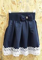 Школьная юбка с кружевной отделкой и бантиком, на 6-9 лет