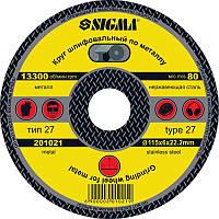 Круг шлифовальный по металлу Sigma 115х22,2х6 (1931211)