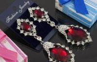 Свадебные серьги с красным камнем (С-Од-Б-02-красн)