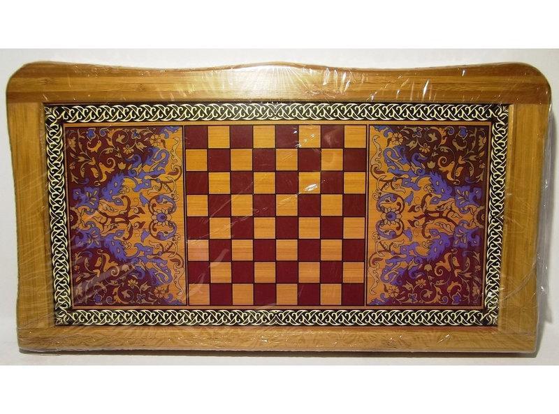 Набор 2-в-1: нарды + шахматы (БАМБУК) I4-19, настольные игры шахматы, нарды, набор игр шахматы нарды
