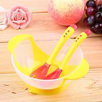 Детский набор термо посуды для кормления миска вилка ложка цвет желтый