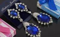 Свадебные серьги с синим камнем (С-Од-Б-02-син)