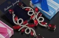 Свадебные серьги с красным камнем (С-Од-Б-03-красн)