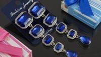 Свадебные серьги с синим камнем (С-Од-Б-05-син)