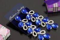 Свадебные серьги с синим камнем (С-Од-Б-08-син)