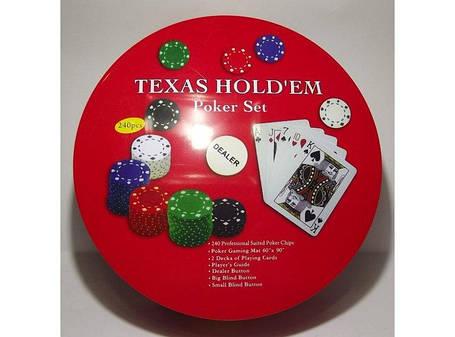 Набор для игры в покер в метал. упаковке (240 фишек+2 колоды карт+полотно) I3-98, покерный набор, фото 2