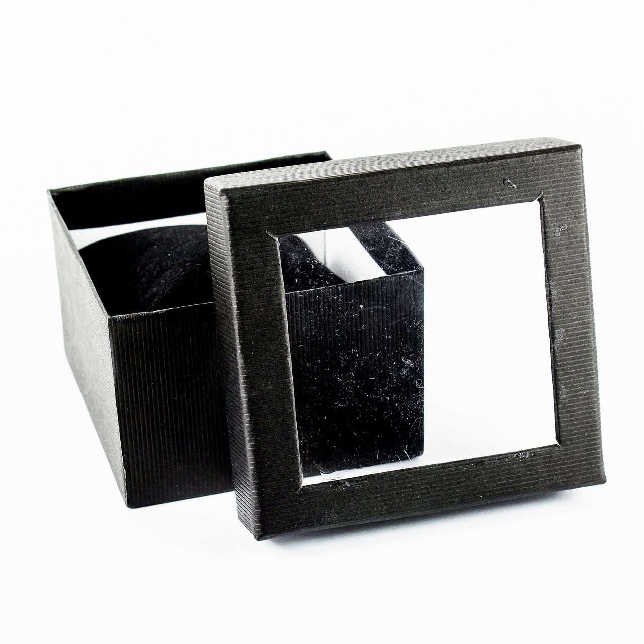 Подарочная коробка для часов или браслета с окошком черная 9 x 9 x 6 см